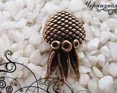 Small pendant antique bronze 1655(1). Jellyfish, devilfish, octopus, underwater, ocean, sea, charm