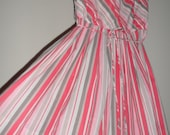 1950s 60s betty hartford striped dess unique pattern sideways &up and down  meds some large