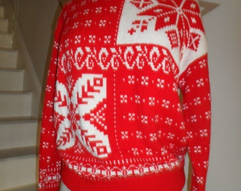 beldoch popper 1970s red sweater with snow flakes size medium but displayed on a 2-4 dress formsmall - meds