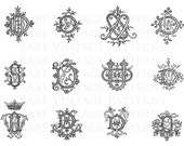 FRENCH MONOGRAMS STENCIL 5x Files Jpg Png Transparent and Reverse Mirror Images Hand Embroidery Sewing Pattern Scrapbooking Instant Download