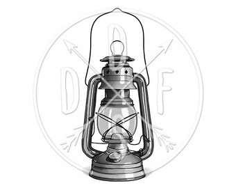 A0078_silver - Retro Lantern, Vintage Antique Railroad Lamp - Digital Print, Instant Download. Printable Illustration. PNG/JPG files 8x10''.