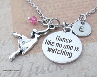 Dance like no one is watching Dancer Charm Necklace, Personalized Hand Stamped Initial  Birthstone Antique Silver Dance Necklace