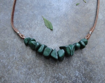 Green and leather Aventurine  gemstone necklace