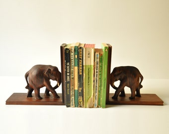 Vintage Bookends -Wooden Elephants Book Ends