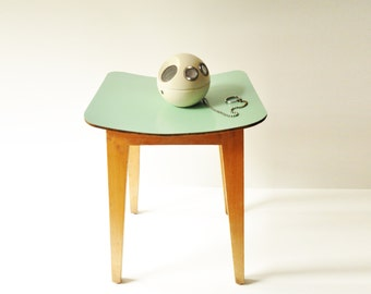Vintage Mint Green Wooden Kitchen Stool - Coffee Table - Plant Table