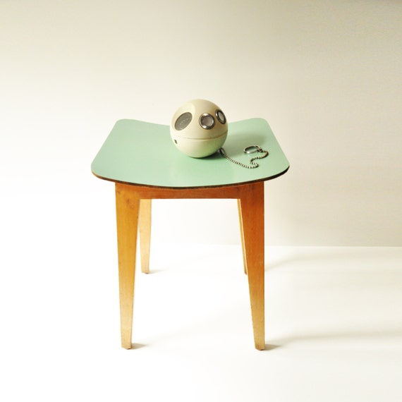 vintage mint green wooden kitchen stool coffee by