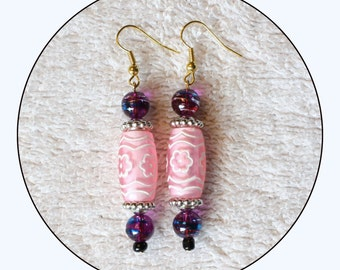 Pink Earrings, beaded earrings, long earrings, pink jewelry, pink dangle earrings, gift for her, bridesmaids earrings,jewelry, Item #PBE-001