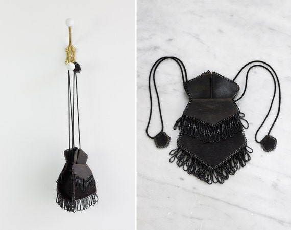 antique victorian reticule | antique beaded purse | black leather beaded fringe bag