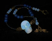 Opalite SKULL choker with lapis druk precoscia seed beads and faceted opalite