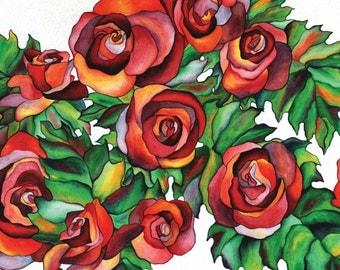 Paperbambolaroses, floral card, floral note card, roses, rose card