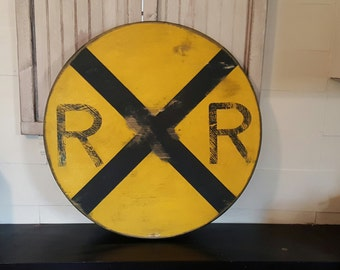 Distressed Vintage look yellow Railroad Crossing sign/Train/Transportation
