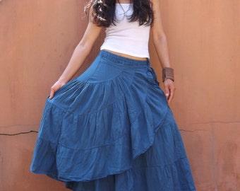 Boho Wrap Skirt .. Blue
