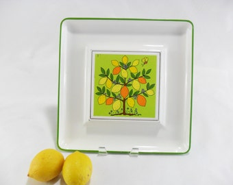Vintage Lorrie Design Serving Tray * Mod Lemon Tree and Bee * Yellow Lime and Orange