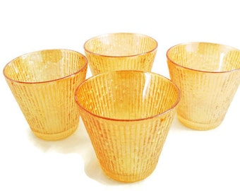 Vintage Marigold Iridescent Carnival Bamboo Tree Bark 6 oz. Rocks Glasses Set of 4
