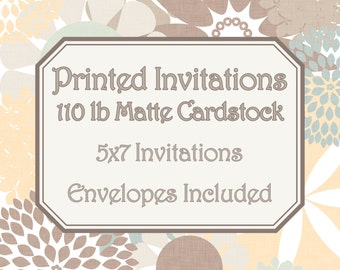 Printed Invitations on Cardstock - 5x7 One-Sided Printed Invitations with Envelopes - Matte Cardstock (110lb)