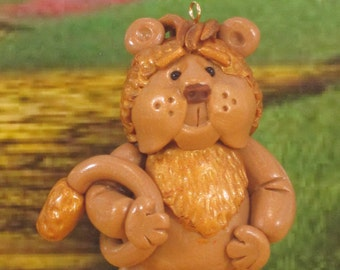 Cowardly Lion in Wizard of Oz for fairy garden OOAK cake topper, ornament, miniature collectible handmade