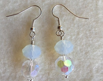 Sparkly white Christmas  themed earrings