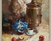 "Original still life painting Russian style, 27.5"" x 31.5"", Framed, Fine Art by Valiulina"