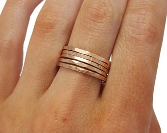 Stacking Rings Hammered- Set of 5, Rose Gold