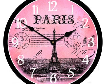 Paris Postcard Pink Wall Clock