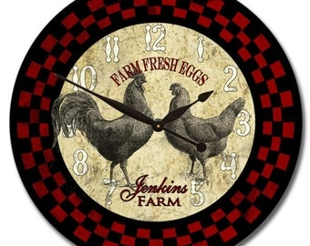 Red & Black Rooster Wall Clock