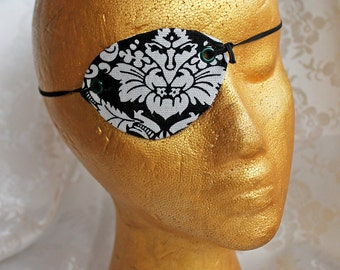 MADE to ORDER White and Black Canvas Damask Pirate Eye Patch