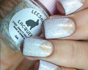 White and Gold Crelly Nail Polish - Snow Wonder - Full Size or Mini Nail Polish