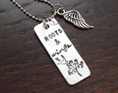 Roots & Wings ~ 1/2x 1 3/8inch Pewter Rectangle~Wing Charm