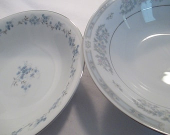 Vintage Mismatched China Round Vegetable Bowls for Dinner Parties,Weddings,Bridal Luncheon,Showers,Hostess Gift-Set of 2