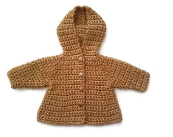 Luxury soft wool baby girl hooded coat hoodie,  yellow gold baby sweater jacket, wool baby cardigan, baby shower gift present. 0-3-6 months