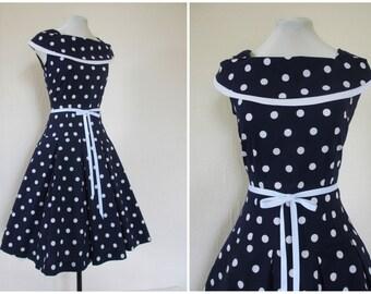 1950s Dress Blue and White Polka Dot Dress Drop Waist Full Skirt Dress Cotton Shawl Collar Pleated Dress XS S