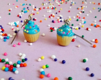 Blue Cupcake Earrings w/ Rainbow Sprinkles - Handmade Polymer Clay Mini Food Dessert Candy Jewelry