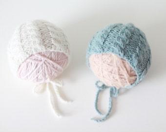 Newborn twins - Newborn props - Twin hats - Baby boy hat - Twins photo prop - Newborn twins - Baby boy twins - Baby twins - Teal - Cream