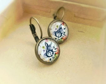 Music earrings, Treble Clef earrings, Gift for a music teacher, gift for her, Gift for musician, music jewelry,gift for piano student,Clef