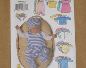 Uncut Pattern - Butterick 5896 - Infant Jacket, Dress, Top, Romper, Diaper Cover and Hat pattern