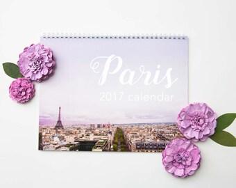 Clearance - Paris 2017 Photo Wall Calendar - Travel Photography Calendar - 2017 France Calendar - Spiral Bound Wall Calendar