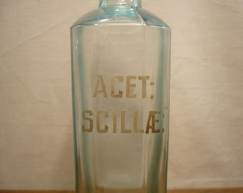 Antique 1900s Wood Brothers pharmacist's bottle marked Acet Scillae, Squill vinegar bottle