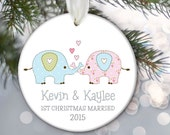 First Christmas Personalized Christmas Ornament Married Engaged Together Elephant Couple Gift Elephant Ornament OR678