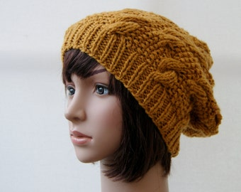 Chunky knit cable beanie in Gold, Slouchy Beanie/Knitted hat/Beanie hat READY TO SHIP