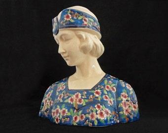 Joan of Arc Bust Faience Les Bleus de Louviere Belgium Large