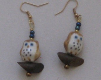 Ceramic Owl Bead Earrings