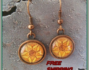 southwest mosaic earrings antique copper