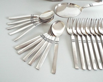 STAINLESS FLATWARE - vintage cutlery 25 pieces, cake shovels little forks and tea spoons, modern mid century design, made in Italy