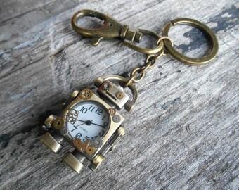 Driod Robot Watch Keychain with Added Vintage Clock Gears in Antique Bronze