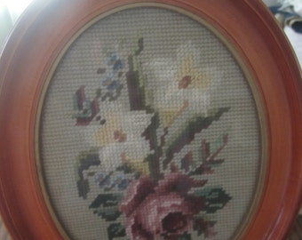 Gorgeous Framed Needlepoint Rose Handmade Vintage