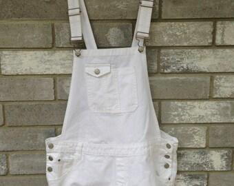 white short denim overalls