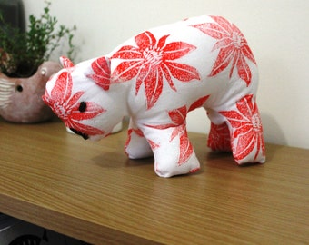 Red handmade wombat soft toy