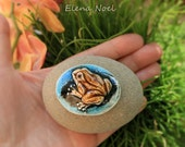 frog ceramic cabochon for creating bead Embroidery jewelry. 45 by 35 by 9 mm  (1,7 by 1,4  by 0,35 inch)