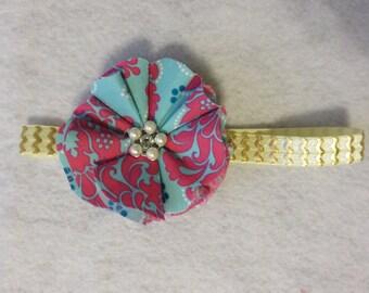 Blue and fuchsia shabby baby girl headband