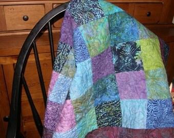 Lap Quilt Batik, Baby Quilt, Baby Blanket, Quilted Lap Quilt,  Batik Patchwork Quilt, Wheelchair Quilt, Quiltsy Handmade, Island Batik Quilt